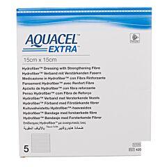 Aquacel Extra Verband Hydrofiber + Versterking 15x15cm 5 Stuks