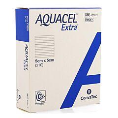 Aquacel Extra Verband Hydrofiber + Versterking 5x5cm 10 Stuks