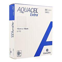 Aquacel Extra Verband Hydrofiber + Versterking 10x10cm 10 Stuks