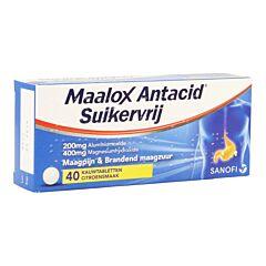 Maalox Antacid Suikervrij - Citroen 40 Kauwtabletten