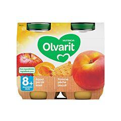 Olvarit Fruitpap Appel/ Perzik/ Koek 8M+ 2x200g