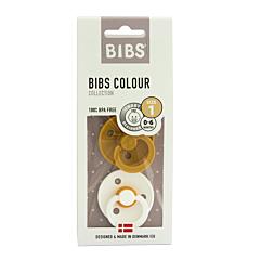 Bibs Fopspeen Duo Mustard/White 0-6M 2 Stuks