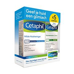 Cetaphil Milde Huidreiniger 200ml + Hydraterende Crème 100g Promopack - €5