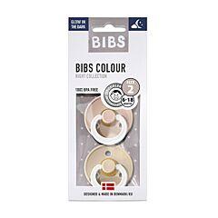 Bibs Glow In The Dark Fopspeen Duo Vanilla/Blush 6-18M 2 Stuks