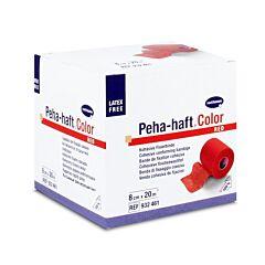 Hartmann Peha Haft Color Latexfree Cohesieve Fixatiezwachtel Rood - 8cmx20m - 1 Stuk