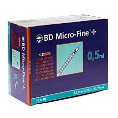 BD Microfine+ Insulinespuit 0,5ml 29g 12,7mm 100 Stuks