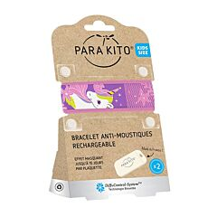 Parakito Kids/ Teens Anti-Muggen Armband Unicorne + 2 Navullingen