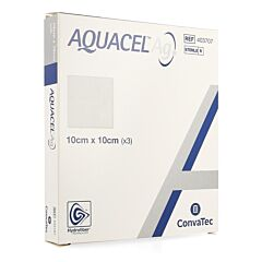 Aquacel Ag Verband Hydrofiber Steriel 10cm x 10cm 3 Stuks