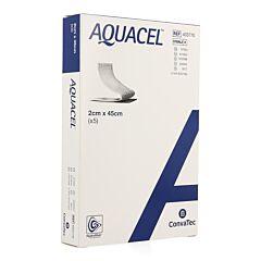 Aquacel Verband Hydrofiber + Versterking 2x45cm 5 Stuks