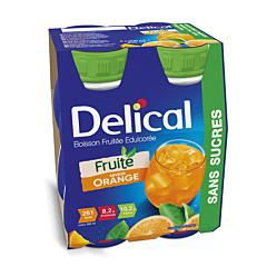 Delical Fruitdrink Met Zoetstof Sinaasappel 4x200ml