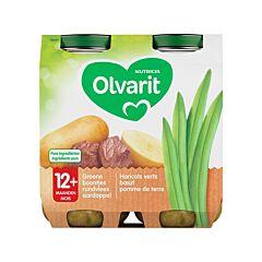 Olvarit Maaltijd Groene Boontjes/ Rundvlees/ Aardappel 12M+ 2x250g