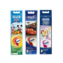 Oral-B Opzetborstel Stages Power Cars/Mickey/Prinsessen 3 Stuks