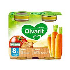Olvarit Maaltijd Wortel/ Kip/ Aardappel 8M+ 2x200g