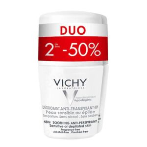 Vichy Deo Roller Gevoelige Huid 48u Duo 2de -50% 2x50ml