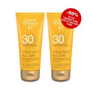 Louis Widmer Sun All Day SPF30 Zonder Parfum 2x100ml PROMO 2de -50%