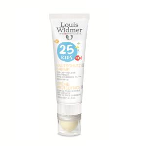 Louis Widmer Kids Skin Protection Cream SPF25 Zonder Parfum 25ml + Lipstick SPF50